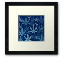 Marijuana Cannabis Weed Pot Dark Blue Framed Print