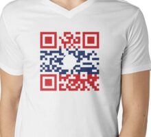 I Love Laos (Khoy Huk Lao) Flag QR Code / Lao Geek Mens V-Neck T-Shirt