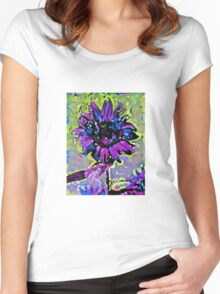 Sunflower abstract 9b Women's Fitted Scoop T-Shirt