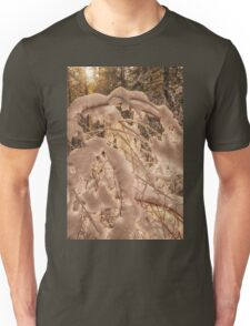 Backlighting sun shines behind snow covered branches Unisex T-Shirt