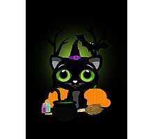 Black Kitten Witch 3 Photographic Print