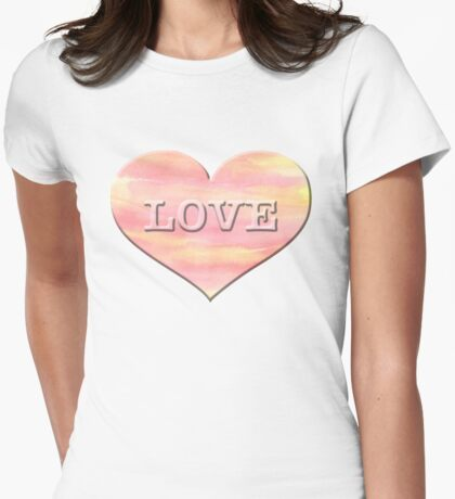 Cute LOVE Heart Watercolor Paint Sunset Valentine's Day Gift For Her Womens Fitted T-Shirt