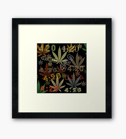 Marijuana Cannabis Weed 420 4:20 All Over The World Framed Print