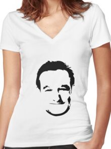 Robin Williams face Women's Fitted V-Neck T-Shirt