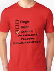 Singel, Taken, Genius Billionaire Playboy Philanthropist T-Shirt