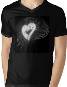 Zen Doodle Heart Black White Glow Mens V-Neck T-Shirt