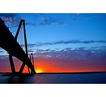 Ravenel Bridge Sunset Over Water Photographic Print