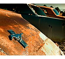 Abandoned Ford Mustang Emblem Photographic Print