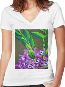 Wild orchids Women's Fitted V-Neck T-Shirt