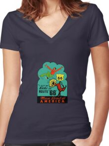 Route 66 Main Street of America Vintage Travel Decal Women's Fitted V-Neck T-Shirt