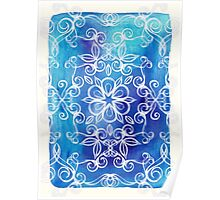 White Floral Painted Pattern on Blue Watercolor Poster