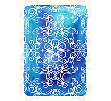 White Floral Painted Pattern on Blue Watercolor Photographic Print