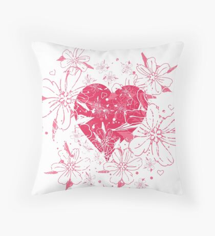 Red Heart With Tulips Throw Pillow