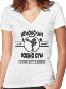 Hitmonchan Boxing Gym | Gray Women's Fitted V-Neck T-Shirt