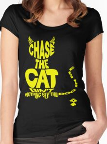 Chase the Cat - Cloud Nine (Yellow) Women's Fitted Scoop T-Shirt