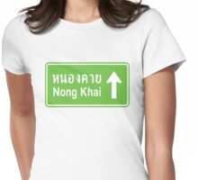 Nong Khai, Isaan, Thailand Ahead ⚠ Thai Traffic Sign ⚠ Womens Fitted T-Shirt