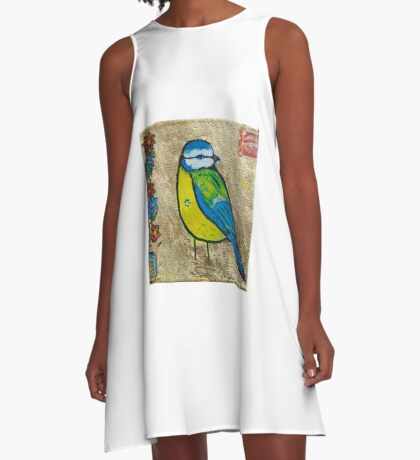 blue- tit with vintage stamp  A-Line Dress