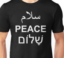 Peace Arabic Hebrew English Text Word Typography Unisex T-Shirt