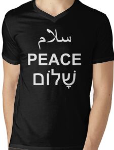 Peace Arabic Hebrew English Text Word Typography Mens V-Neck T-Shirt