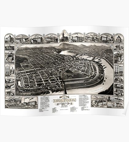 Bird's eye view of the 1881 city of Holyoke, and village of South Hadley Falls, Mass. Poster