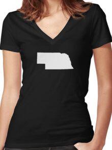 Nebraska Plain Women's Fitted V-Neck T-Shirt