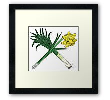 Leek and Daffodil Crossed Framed Print