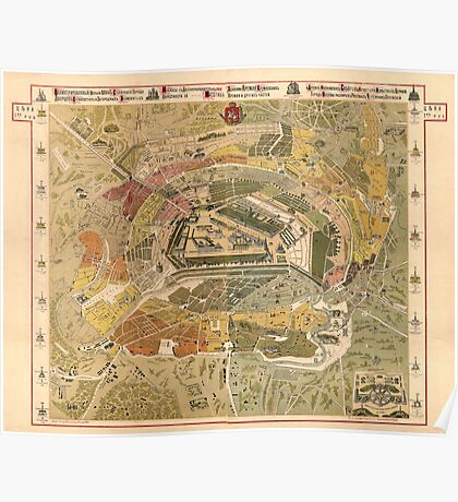 Map of Moscow- 1882 Poster