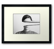 Black and White Portrait Of Mysterious Girl Framed Print