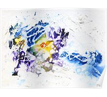 Blue, purple and yellow abstract Poster
