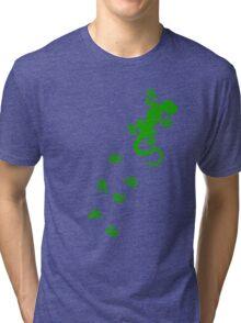 Green Lizard Footprints Design Tri-blend T-Shirt