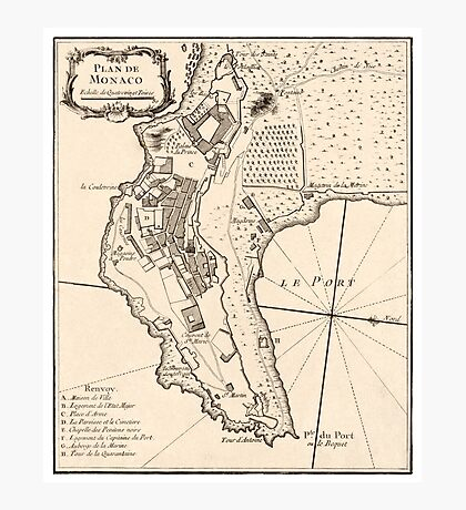 Plan de Monaco - 1764 Photographic Print
