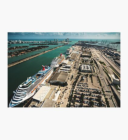 miami harbour from the helicopter Photographic Print