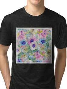 Abstract floral sketch watercolor hand paint. Tri-blend T-Shirt
