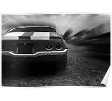 chevrolet camaro ss, camaro 1970, black and white Poster