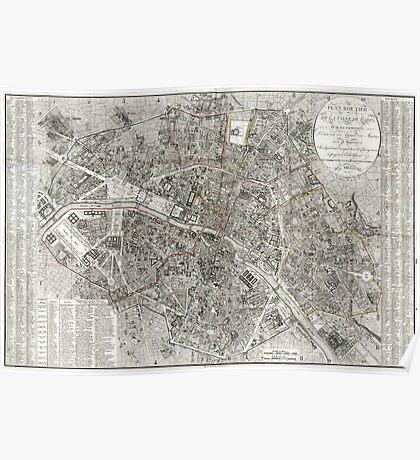 Map of Paris, France - 1823 Poster