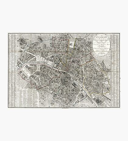 Map of Paris, France - 1823 Photographic Print