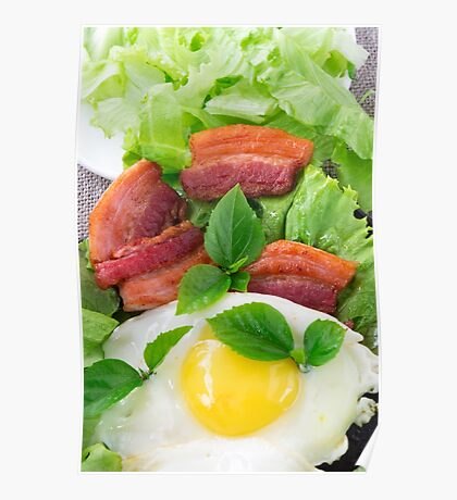 Plate with egg yolk, fried bacon and herbs Poster