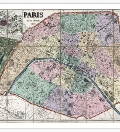 Map of Paris, France - 1878 Sticker