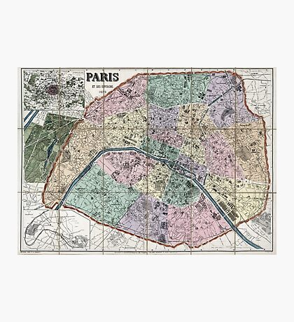 Map of Paris, France - 1878 Photographic Print