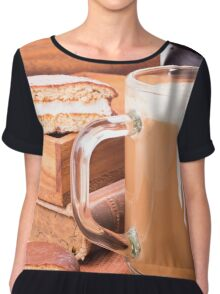 Glass mug with hot chocolate on a table Chiffon Top