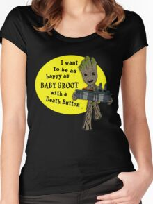 Baby Groot with a Death Button Women's Fitted Scoop T-Shirt