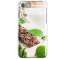 Chocolate bar with a cereal and milk for breakfast  iPhone Case/Skin