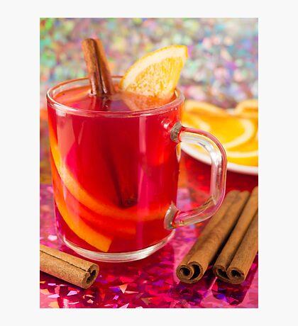 Transparent mug with citrus mulled wine, cinnamon and orange Photographic Print
