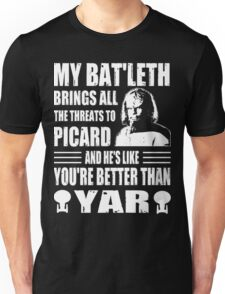 Worf's Bat'leth brings all the threats to Picard Unisex T-Shirt