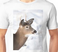 White-tailed deer buck in the winter snow Unisex T-Shirt