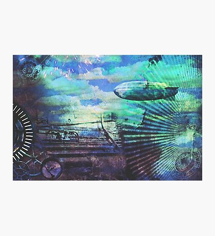 Steampunk style collage in blue Photographic Print