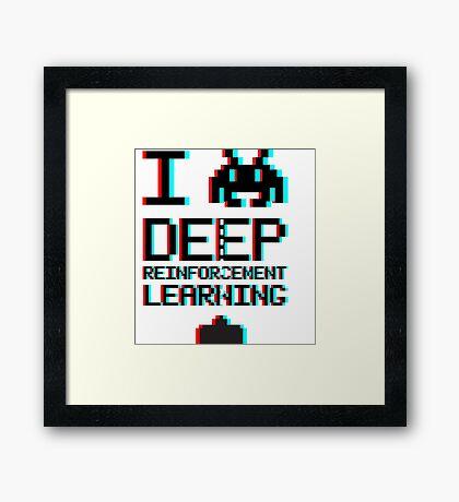 I heart deep reinforcement learning, capital (8-bit 3D) Framed Print