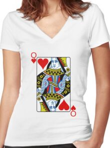 Queen of hearts playing card Women's Fitted V-Neck T-Shirt