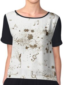Watercolor music notes pattern on white background Chiffon Top