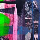 Cool graffiti grunge style details in pink green red and blue by Mariannne Campolongo